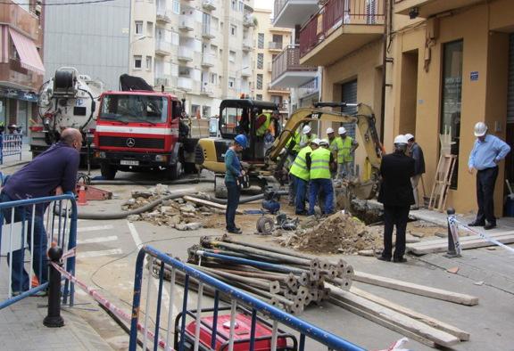 Imagen de las obras de urgencia que se hicieron en 2011 en la avenida Joaquim Ruyra