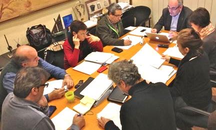 L'equip de govern de Blanes, ahir a la tarda al despatx de l'alcalde Josep Marigó