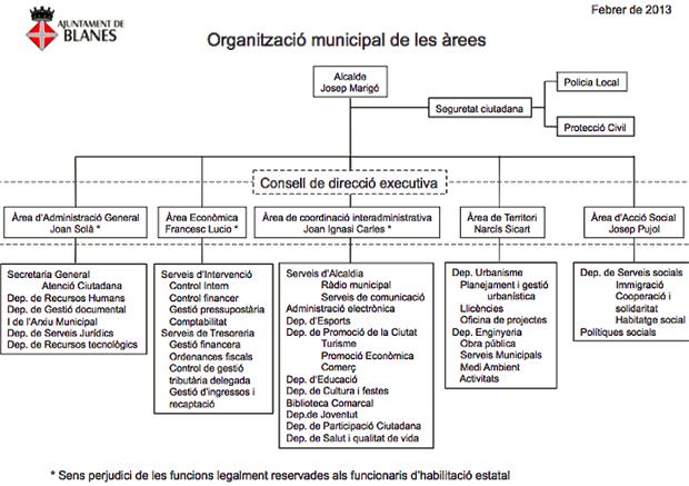 Organització municipal de les àrees
