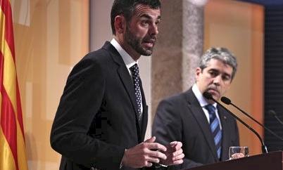 Santi Vila i Francesc Homs, ahir al Palau de la Generalitat durant la roda de premsa