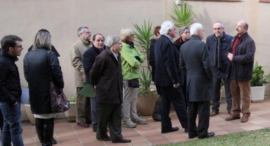 El polítics i representants de les institucions, avui abans de començar la visita al Centre Ventijol