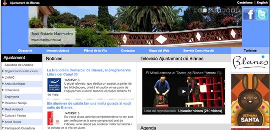 Imatge del web de l'Ajuntament de Blanes
