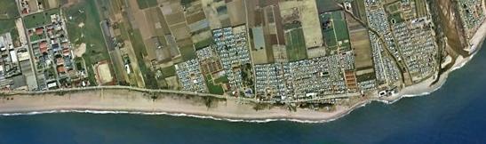 Playa de La Pomareda de Malgrat. A la derecha, la desembocadura del Tordera / Foto: Google Earth