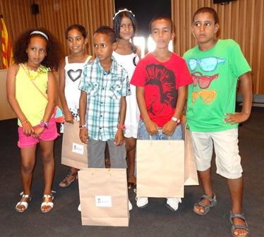 Los niños y niñas acogidos en Blanes, además de una menor que no estuvo en el acto