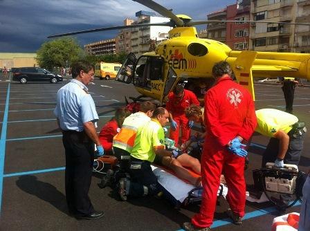 Trasllat d'una víctima en helicòpter