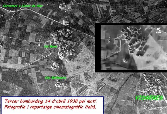Imatge del tercer bombardeig de Vidreres, presa des d'un avió italià