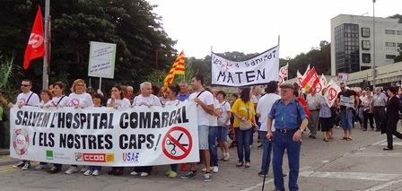 Manifestació contra les retalles a l'Hospital Comercal de Blanes, el passat 6 d'ocutbre
