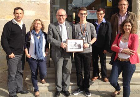 Oriol Frigola, amb J. Marigó, els seus pares i professors del S'Agulla