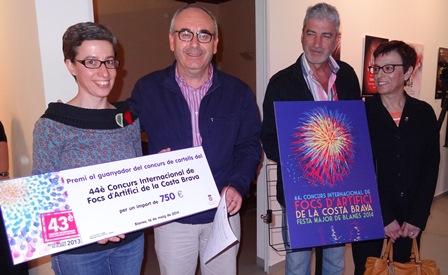 Cristina Ruiz, guanyadora del cartell de 2014, amb Josep Marigó, Miquel Lupiáñez y Susana Ramajo / Foto: JFG