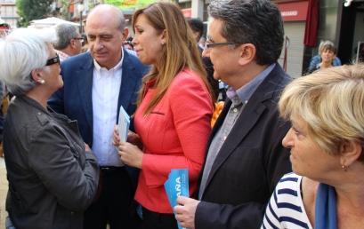 Jorge Fernández, Alicia Sánchez-Camacho i Enric Millo, aquest matí al Passeig de Dintre