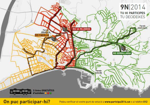 Mapa de la ciutat elaborat per informar de la celebració del 9N a Blanes