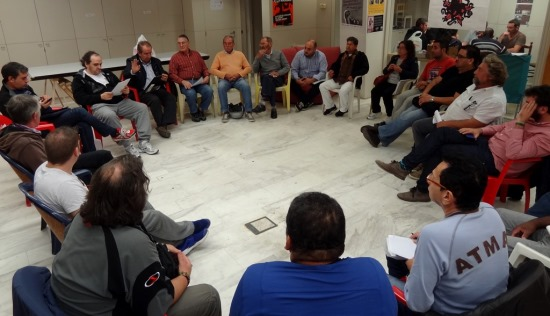 Imagen de la reunión celebrada ayer por miembros de Podemos Blanes