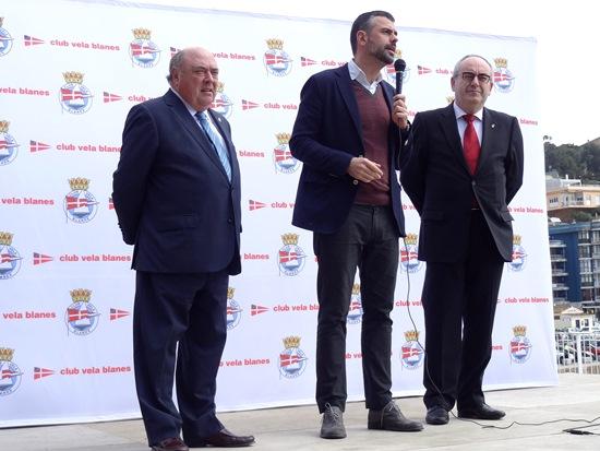 Amadeu Nualart, Santi vila i Josep Marigó, avui durant la inauguració de les noves instal·lacions del Club Vela Blanes / JFG