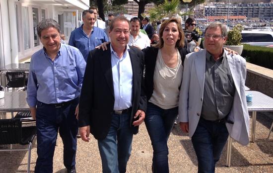 Alicia Sánchez Camacho, amb els candidats Salvador Tordera i Celestino Lillo, aquest matí al Club Vela Blanes