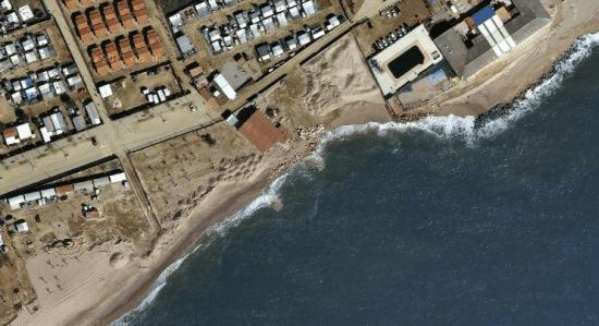 Lloc de la platja de Malgrat afectat per la perdua de sorra / Foto: Google Earth