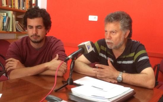 Víctor Catalan i Joan Salmerón, ahir a la seu de la coalició