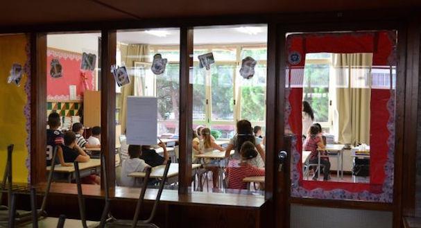 Una clase de l'escola Sant Jordi, ahir al matí / Ràdio Pineda