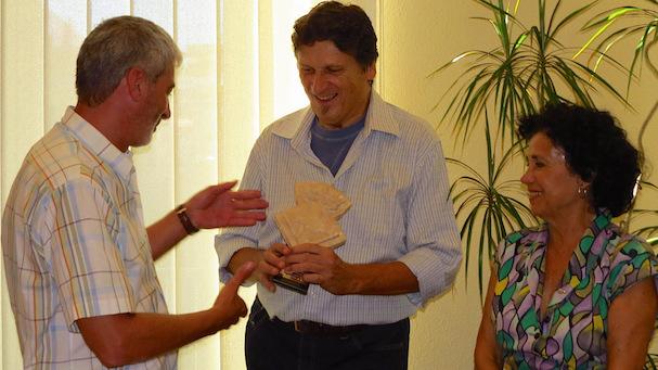 L'alcalde Miquel Lupiáñez, Udo Baumann i Maria Pilar Joseph