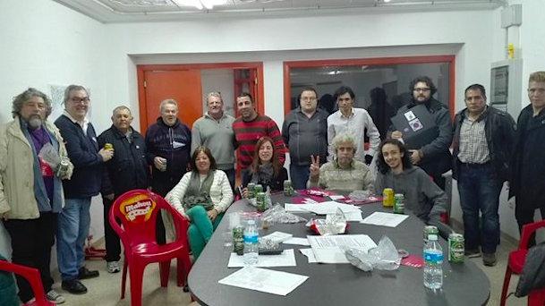 Miembros de En Comú Podem, ayer en la sede de la Agrupación de Electores Batega per Blanes