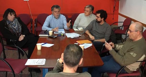 Joan Salmerón, al centre de la imatge, ahir durant la roda de premsa