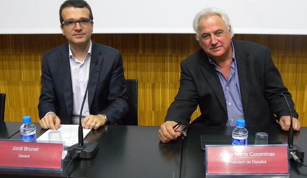 A l'esquerra, Jordi Brunet (gerent de Dipsalut) i a la dreta, Josep Maria Corominas (president de Dipsalut)